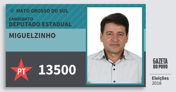 Santinho Miguelzinho 13500 (PT) Deputado Estadual | Mato Grosso do Sul | Eleições 2018
