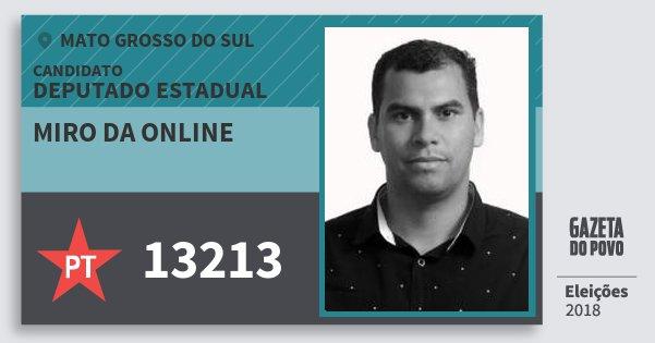 Santinho Miro da Online 13213 (PT) Deputado Estadual | Mato Grosso do Sul | Eleições 2018