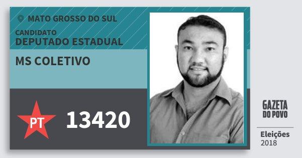 Santinho Ms Coletivo 13420 (PT) Deputado Estadual | Mato Grosso do Sul | Eleições 2018