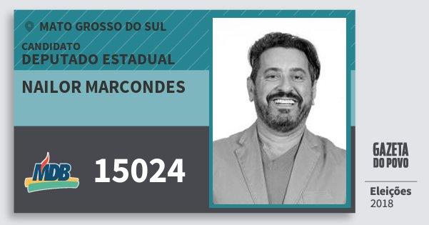 Santinho Nailor Marcondes 15024 (MDB) Deputado Estadual | Mato Grosso do Sul | Eleições 2018