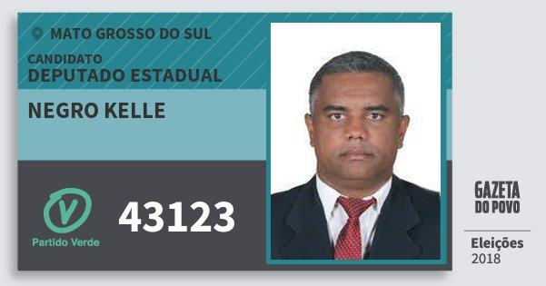 Santinho Negro Kelle 43123 (PV) Deputado Estadual | Mato Grosso do Sul | Eleições 2018