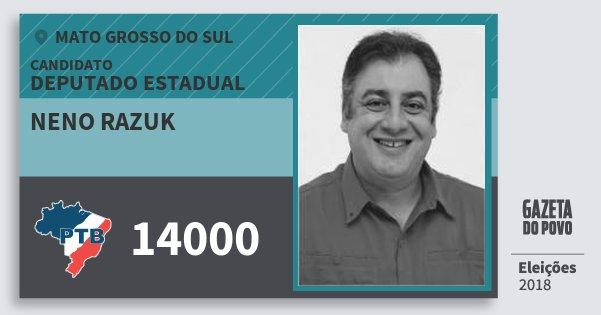 Santinho Neno Razuk 14000 (PTB) Deputado Estadual | Mato Grosso do Sul | Eleições 2018