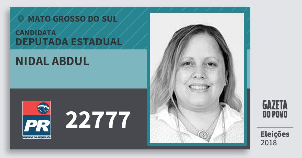 Santinho Nidal Abdul 22777 (PR) Deputada Estadual | Mato Grosso do Sul | Eleições 2018
