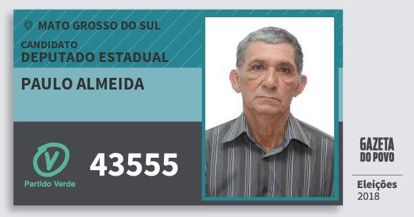 Santinho Paulo Almeida 43555 (PV) Deputado Estadual | Mato Grosso do Sul | Eleições 2018