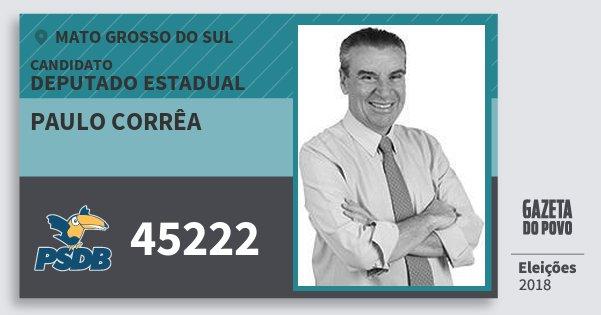 Santinho Paulo Corrêa 45222 (PSDB) Deputado Estadual | Mato Grosso do Sul | Eleições 2018