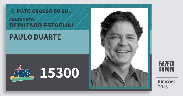 Santinho Paulo Duarte 15300 (MDB) Deputado Estadual | Mato Grosso do Sul | Eleições 2018