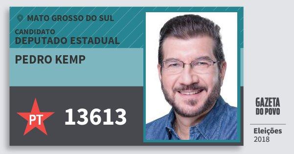 Santinho Pedro Kemp 13613 (PT) Deputado Estadual | Mato Grosso do Sul | Eleições 2018