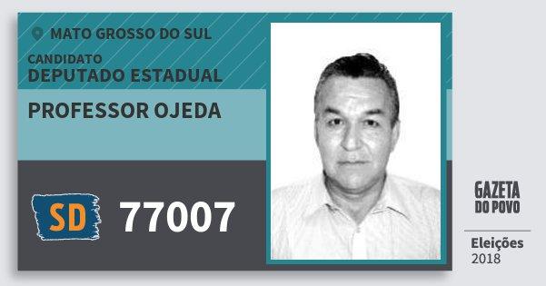 Santinho Professor Ojeda 77007 (SOLIDARIEDADE) Deputado Estadual | Mato Grosso do Sul | Eleições 2018