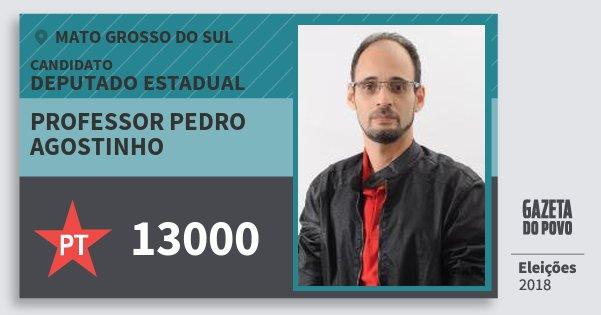 Santinho Professor Pedro Agostinho 13000 (PT) Deputado Estadual | Mato Grosso do Sul | Eleições 2018