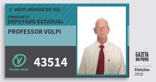 Santinho Professor Volpi 43514 (PV) Deputado Estadual   Mato Grosso do Sul   Eleições 2018