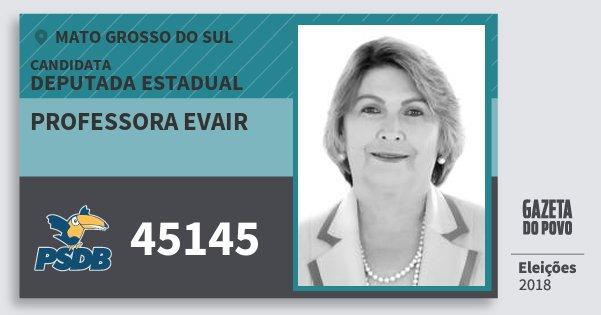 Santinho Professora Evair 45145 (PSDB) Deputada Estadual | Mato Grosso do Sul | Eleições 2018