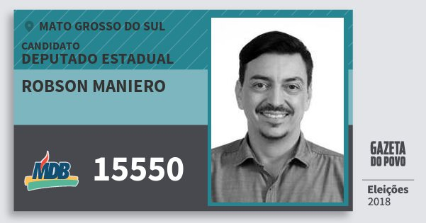 Santinho Robson Maniero 15550 (MDB) Deputado Estadual | Mato Grosso do Sul | Eleições 2018