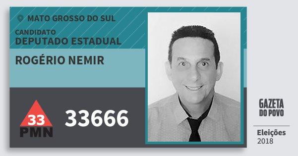 Santinho Rogério Nemir 33666 (PMN) Deputado Estadual   Mato Grosso do Sul   Eleições 2018