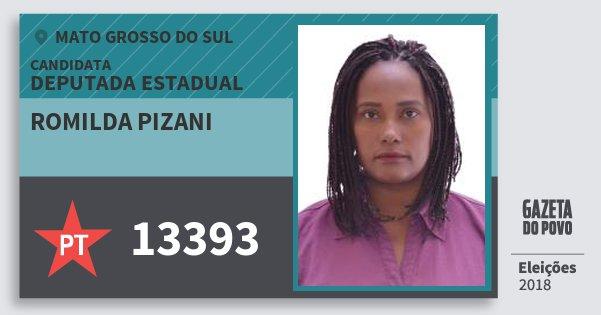 Santinho Romilda Pizani 13393 (PT) Deputada Estadual | Mato Grosso do Sul | Eleições 2018