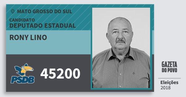 Santinho Rony Lino 45200 (PSDB) Deputado Estadual | Mato Grosso do Sul | Eleições 2018