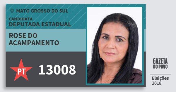 Santinho Rose do Acampamento 13008 (PT) Deputada Estadual | Mato Grosso do Sul | Eleições 2018