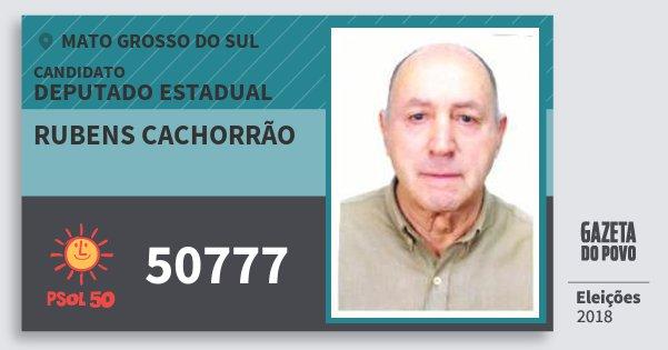 Santinho Rubens Cachorrão 50777 (PSOL) Deputado Estadual | Mato Grosso do Sul | Eleições 2018