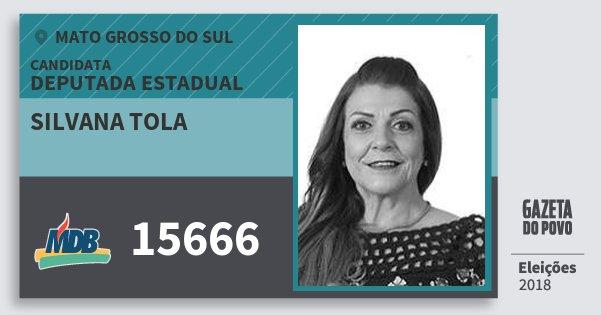 Santinho Silvana Tola 15666 (MDB) Deputada Estadual | Mato Grosso do Sul | Eleições 2018