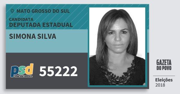 Santinho Simona Silva 55222 (PSD) Deputada Estadual | Mato Grosso do Sul | Eleições 2018