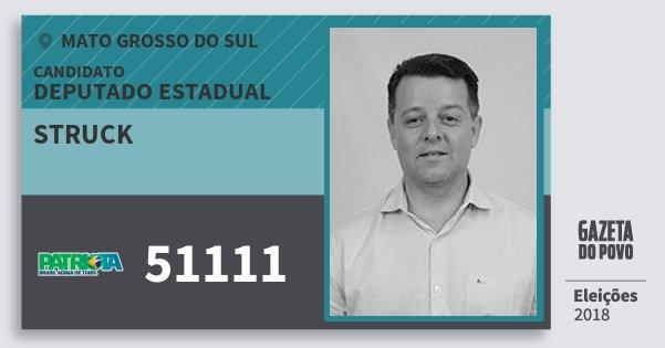 Santinho Struck 51111 (PATRI) Deputado Estadual | Mato Grosso do Sul | Eleições 2018