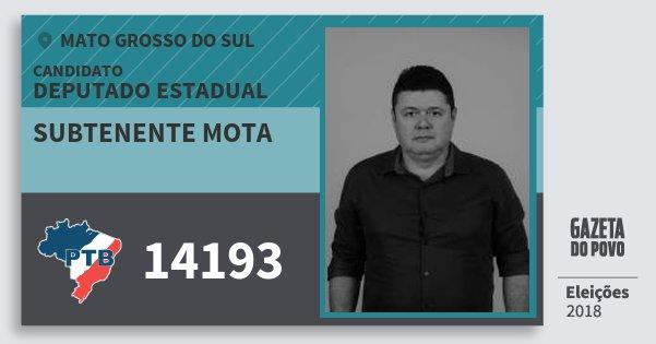 Santinho Subtenente Mota 14193 (PTB) Deputado Estadual | Mato Grosso do Sul | Eleições 2018
