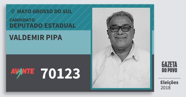 Santinho Valdemir Pipa 70123 (AVANTE) Deputado Estadual | Mato Grosso do Sul | Eleições 2018