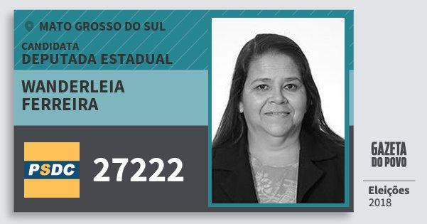 Santinho Wanderleia Ferreira 27222 (DC) Deputada Estadual | Mato Grosso do Sul | Eleições 2018