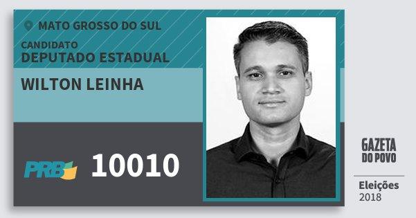 Santinho Wilton Leinha 10010 (PRB) Deputado Estadual | Mato Grosso do Sul | Eleições 2018