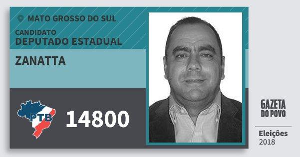 Santinho Zanatta 14800 (PTB) Deputado Estadual | Mato Grosso do Sul | Eleições 2018