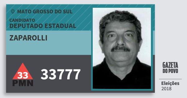 Santinho Zaparolli 33777 (PMN) Deputado Estadual | Mato Grosso do Sul | Eleições 2018