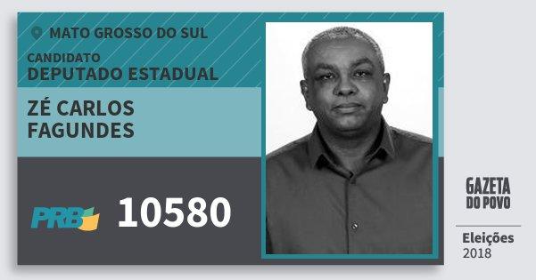 Santinho Zé Carlos Fagundes 10580 (PRB) Deputado Estadual | Mato Grosso do Sul | Eleições 2018