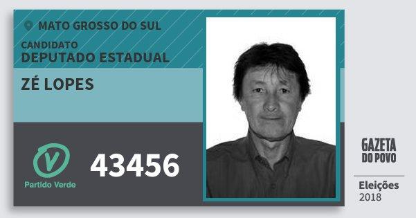 Santinho Zé Lopes 43456 (PV) Deputado Estadual | Mato Grosso do Sul | Eleições 2018