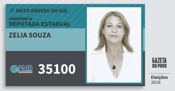 Santinho Zelia Souza 35100 (PMB) Deputada Estadual | Mato Grosso do Sul | Eleições 2018