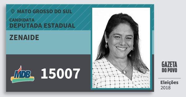 Santinho Zenaide 15007 (MDB) Deputada Estadual | Mato Grosso do Sul | Eleições 2018