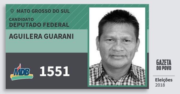 Santinho Aguilera Guarani 1551 (MDB) Deputado Federal | Mato Grosso do Sul | Eleições 2018