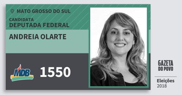 Santinho Andreia Olarte 1550 (MDB) Deputada Federal | Mato Grosso do Sul | Eleições 2018