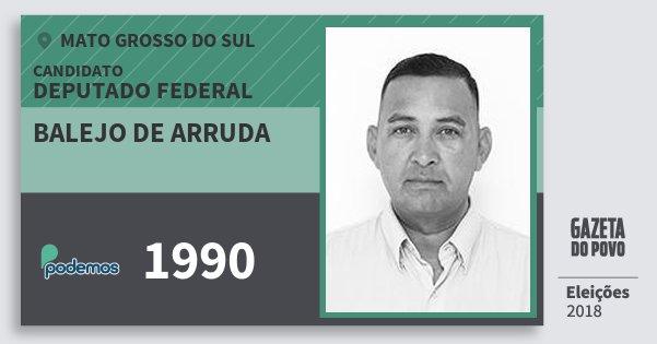 Santinho Balejo de Arruda 1990 (PODE) Deputado Federal | Mato Grosso do Sul | Eleições 2018