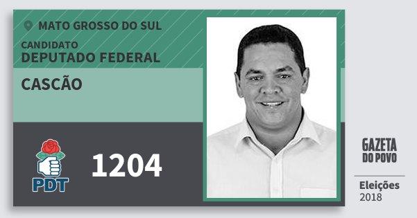 Santinho Cascão 1204 (PDT) Deputado Federal | Mato Grosso do Sul | Eleições 2018