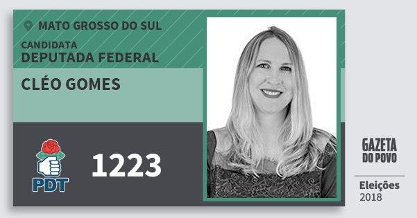 Santinho Cléo Gomes 1223 (PDT) Deputada Federal | Mato Grosso do Sul | Eleições 2018