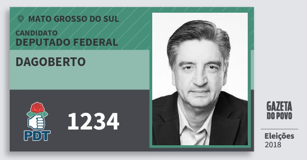 Santinho Dagoberto 1234 (PDT) Deputado Federal | Mato Grosso do Sul | Eleições 2018