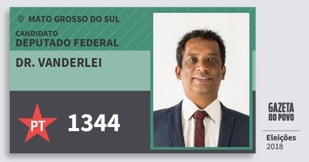 Santinho Dr. Vanderlei 1344 (PT) Deputado Federal | Mato Grosso do Sul | Eleições 2018