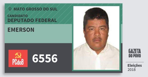 Santinho Emerson 6556 (PC do B) Deputado Federal | Mato Grosso do Sul | Eleições 2018