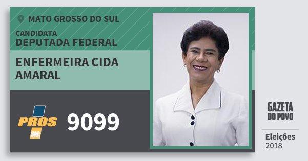 Santinho Enfermeira Cida Amaral 9099 (PROS) Deputada Federal | Mato Grosso do Sul | Eleições 2018
