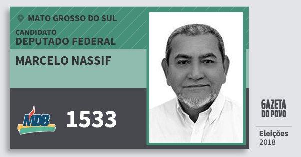Santinho Marcelo Nassif 1533 (MDB) Deputado Federal | Mato Grosso do Sul | Eleições 2018