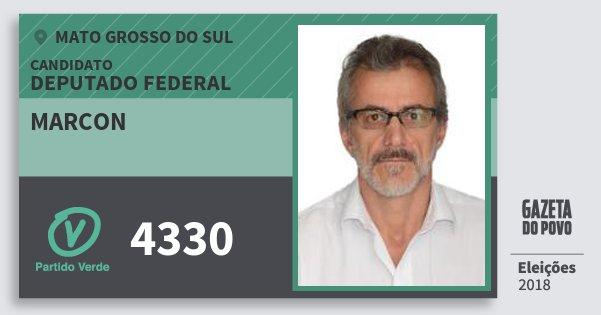 Santinho Marcon 4330 (PV) Deputado Federal | Mato Grosso do Sul | Eleições 2018