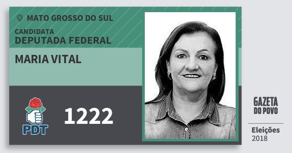 Santinho Maria Vital 1222 (PDT) Deputada Federal | Mato Grosso do Sul | Eleições 2018