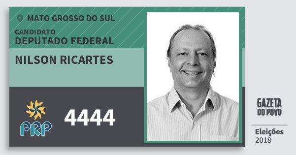 Santinho Nilson Ricartes 4444 (PRP) Deputado Federal | Mato Grosso do Sul | Eleições 2018