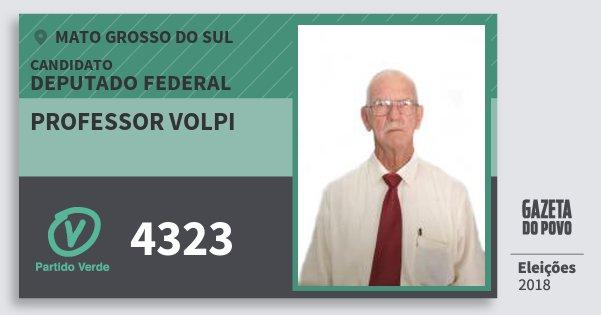 Santinho Professor Volpi 4323 (PV) Deputado Federal | Mato Grosso do Sul | Eleições 2018