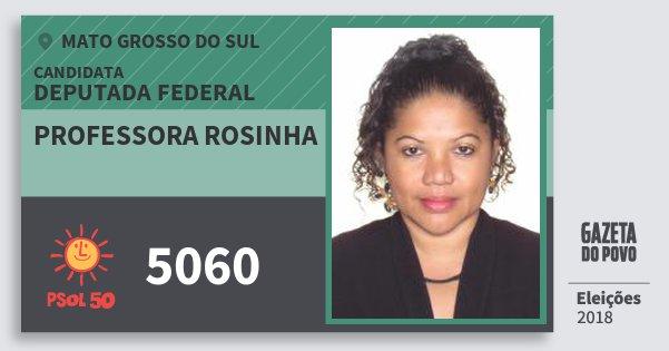 Santinho Professora Rosinha 5060 (PSOL) Deputada Federal | Mato Grosso do Sul | Eleições 2018