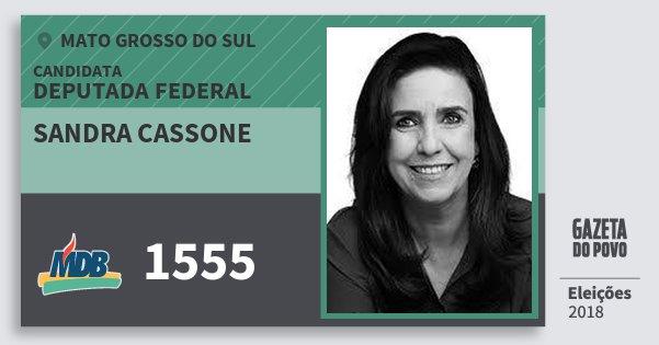 Santinho Sandra Cassone 1555 (MDB) Deputada Federal | Mato Grosso do Sul | Eleições 2018